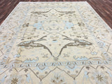 Indian Rug Hand Knotted Oriental Rug Light Large Oushak Oriental Rug 9'X12'2