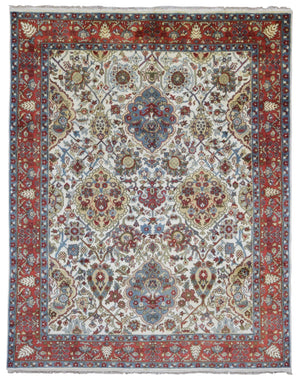 Indian Rug Hand Knotted Oriental Rug Mahal Oriental Area Rug 7'11X9'11