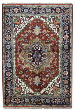 Indian Rug Hand Knotted Oriental Rug Oriental Serapi Area Rug 4'X5'11