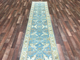 Indian Rug Hand Knotted Oriental Rug Oushak Oriental Runner Rug 2'6X12'