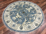Indian Rug Hand Knotted Oriental Rug Oushak Small Round Oriental Rug 4'X4'