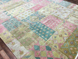 Indian Rug Hand Knotted Oriental Rug Patchwork Design Large Oriental Rug 9'X12'