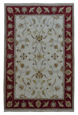 Indian Rug Hand Knotted Oriental Rug Peshawar Oriental Area Rug 6'X8'10