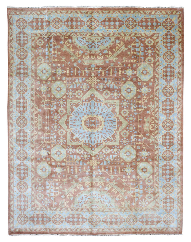 Indian Rug Hand Knotted Oriental Rug Powder Mamluk Large Oriental Rug 9'2X11'9