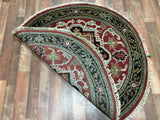 Indian Rug Hand Knotted Oriental Rug Round Serapi Oriental Rug 4X4