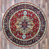 Indian Rug Hand Knotted Oriental Rug Round Serapi Oriental Rug 5'7X5'7