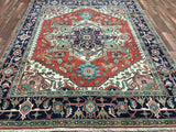 Indian Rug Hand Knotted Oriental Rug Serapi Large Oriental Rug 7'11X10'1
