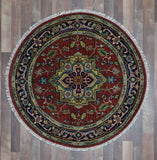 Indian Rug Hand Knotted Oriental Rug Serapi Small Round Oriental Rug 4'X4'
