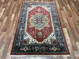 Indian Rug Hand Knotted Oriental Rug Small Blue-Serapi Oriental Rug 4'X6'3