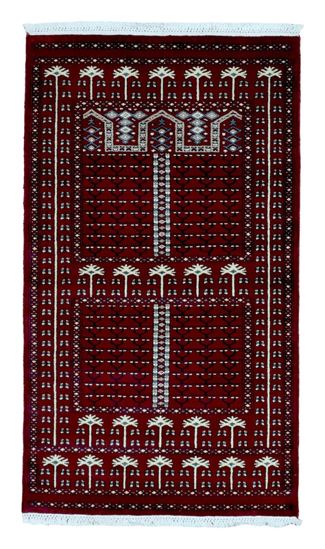 Indian Rug Hand Knotted Oriental Rug Small Bukhara Oriental Rug 3X5'1