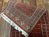 Indian Rug Hand Knotted Oriental Rug Small Bukhara Oriental Runner 1'5X4'2