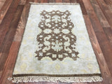 Indian Rug Hand Knotted Oriental Rug Small Light Oushak Oriental Rug 2'X3'