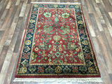 Indian Rug Hand Knotted Oriental Rug Small Mahal Oriental Rug 4'X5'10