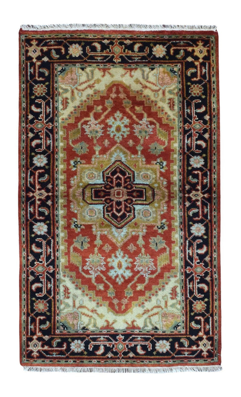 Indian Rug Hand Knotted Oriental Rug Small Oriental Heriz Rug 3X5