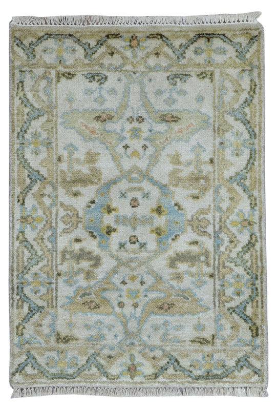 Indian Rug Hand Knotted Oriental Rug Small Oushak Oriental Rug 2'X3'