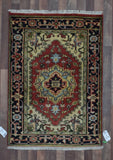 Indian Rug Hand Knotted Oriental Rug Small Rug Oriental Heriz 3'1X4'4