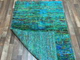 Indian Rug Hand Knotted Oriental Rug Small Sari Silk Oriental Rug 3'10X5'9
