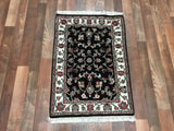 Indian Rug Hand Knotted Oriental Rug Small Tabriz Oriental Rug 2'X3'