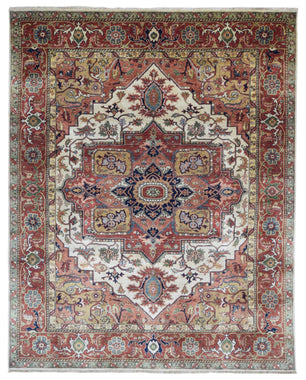 Indian Rug Hand Knotted Oriental Rug Very Fine Serapi Oriental Rug 8'X10'
