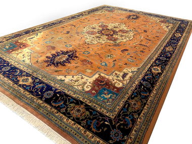 Persian Rug Extra Large (9x12 and larger) Fine Semi-Antique Persian Heriz with Silk 12'x18' Extra Large Rug