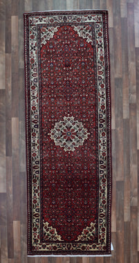 Persian Rug Hand Knotted Oriental Rug 3'9X10'9 Persian Runner Rug Hamadan