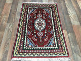 Persian Rug Hand Knotted Oriental Rug Antique Persian Hamadan Rug 1'9X2'7