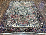 Persian Rug Hand Knotted Oriental Rug Antique Persian Rug Heriz 7'9X10'7