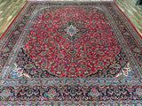 Persian Rug Hand Knotted Oriental Rug Large Rug Semi-Antique Persian Kashan 9'8X12