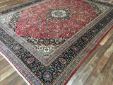 Persian Rug Hand Knotted Oriental Rug Large Semi Antique Persian Kashan 9'5X12'2