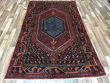 Persian Rug Hand Knotted Oriental Rug Persian Hamadan with Medallion 5X8'5