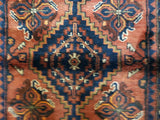 Persian Rug Hand Knotted Oriental Rug Semi-Antique Fine Persian Hamadan Runner 3'5X9'8