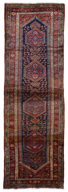 Persian Rug Hand Knotted Oriental Rug Semi-Antique Fine Persian Hamadan Runner 3'7X12'10
