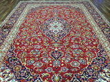 Persian Rug Hand Knotted Oriental Rug Semi-Antique  Fine Persian Kashan Rug 9'4X12'7