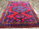 Persian Rug Hand Knotted Oriental Rug Semi-Antique Large Persian Hamadan Oriental Rug 7'1X10'4