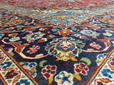 Persian Rug Hand Knotted Oriental Rug Semi Antique Large Persian Kashan 9'7X13'1