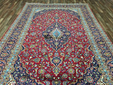 Persian Rug Hand Knotted Oriental Rug Semi-Antique Large Persian Kashan Oriental Rug 7'10X12'6