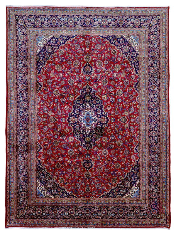 Persian Rug Hand Knotted Oriental Rug Semi-Antique Large Persian Kashan Oriental Rug 9'6X12'8