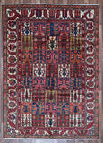 Persian Rug Hand Knotted Oriental Rug Semi-Antique Persian Bakhtiari Large Rug 6'8X9'3