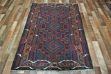 Persian Rug Hand Knotted Oriental Rug Semi-Antique Persian Baluch Rug 3'6X6'1