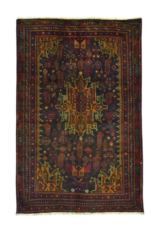 Persian Rug Hand Knotted Oriental Rug Semi-Antique Persian Baluch Rug 3'8x6'1