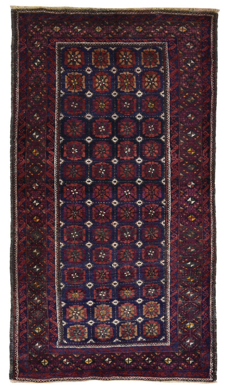 Persian Rug Hand Knotted Oriental Rug Semi Antique Persian Bukhara Rug 2'10X5'6