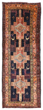 Persian Rug Hand Knotted Oriental Rug Semi-Antique Persian Estate Baluch Rug 3'11x10'11 (Vaulted Estate Collection)