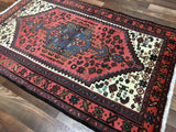 Persian Rug Hand Knotted Oriental Rug Semi-Antique Persian Hamadan Oriental Rug 3'2X4'9