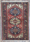 Persian Rug Hand Knotted Oriental Rug Semi-Antique Persian Hamadan Oriental Rug 3'6X4'10