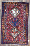 Persian Rug Hand Knotted Oriental Rug Semi-Antique Persian Hamadan Oriental Rug 4'1X6'6