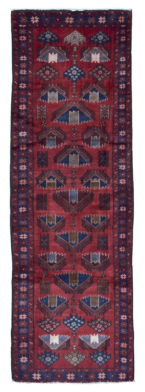 Persian Rug Hand Knotted Oriental Rug Semi-Antique Persian Hamadan Oriental Runner Rug 3'1X9'8