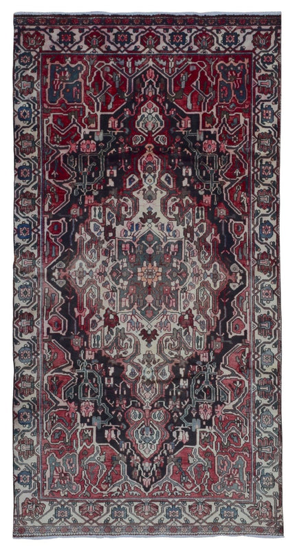 Persian Rug Hand Knotted Oriental Rug Semi-Antique Persian Hamadan Oriental Runner Rug 4'11x9'4