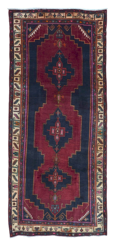 Persian Rug Hand Knotted Oriental Rug Semi-Antique Persian Hamadan Oriental Runner Rug 4'1X9'7