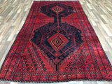 Persian Rug Hand Knotted Oriental Rug Semi-Antique Persian Hamadan Oriental Runner Rug 5X10'2