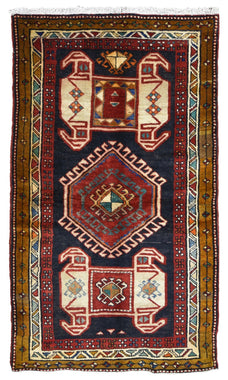 Persian Rug Hand Knotted Oriental Rug Semi Antique Persian Hamadan Rug 3'7X6'3